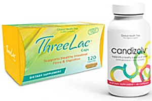 image of candizolv bottle and threelac package