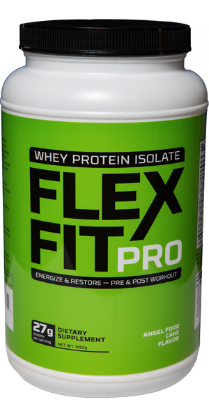 Angel Food Flavor FlexFitPro Why Protein Powder bottle picture