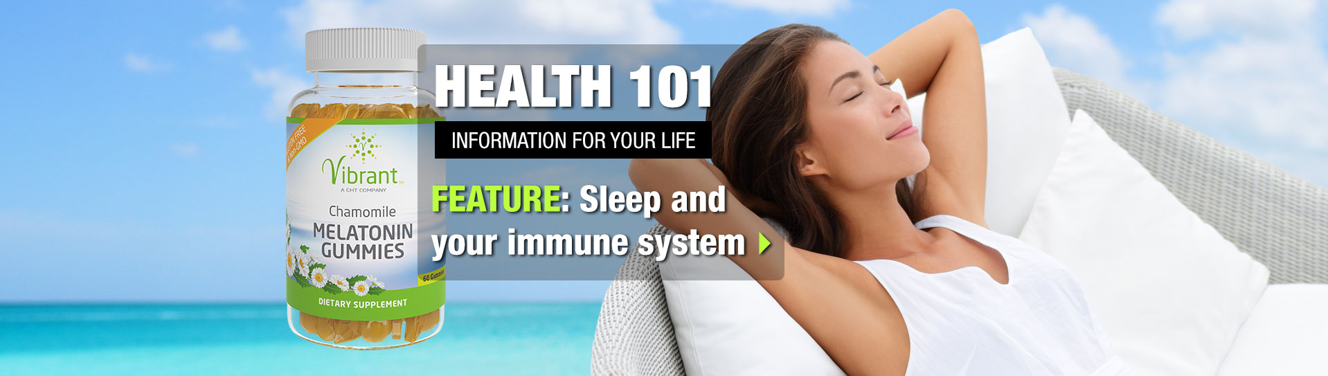Banner about the Health 101 article on Sleep and Your Immune System; woman sleeping on beach